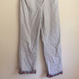 Wide-Leg Lined Plaid Khaki Pants